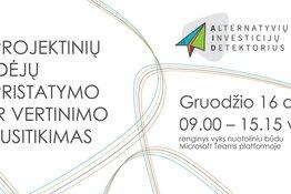 """Projekto """"Alternatyvių Investicijų Detektorius (AID)"""" projektinių idėjų pristatymo - vertinimo renginys."""